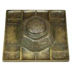 Antique Arts & Crafts Tiffany Studios Bronze Pyramidal Zodiac Inkwell, c1900