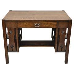 Antique Arts & Crafts Tiger Oak Mission Bookcase Sides Writing Desk with Drawer