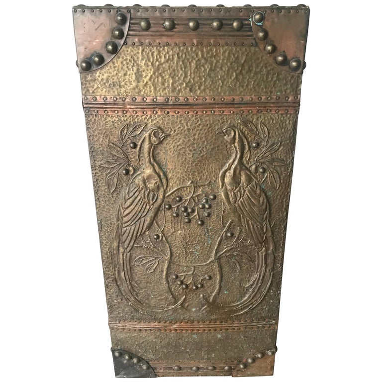 Brass Umbrella Stand Embossed: Antique Arts And Crafts Umbrella And Cane Stand With