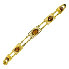 Antique Arts & Crafts Vintage Gold and Citrine Bracelet, circa 1905
