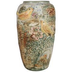 Antique Arts & Crafts Weller Glendale Bird and Nest High Relief Pottery Vase
