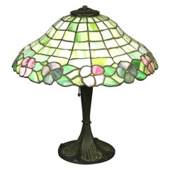 Antique Arts & Crafts Williamson School Floral Leaded Glass Table Lamp, c 1920