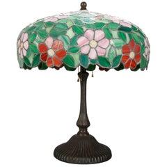 Antique Arts & Crafts Williamson School Floral Mosaic Leaded Glass Lamp