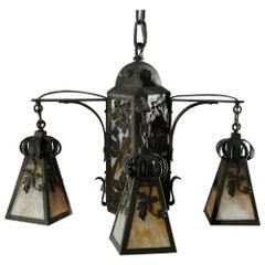 Antique Arts & Crafts Wrought Iron 4-Light Ceiling Fixture, Circa 1910