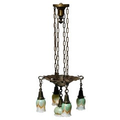 Antique Arts & Crafts Wrought Iron & Pulled Feather Ceiling Fixture, Circa 1910