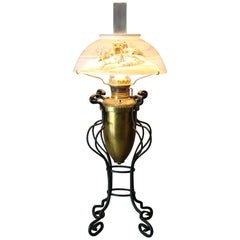 Antique Arts & Crafts Wrought Iron Table Lamp & Hand Painted Shade, circa 1910