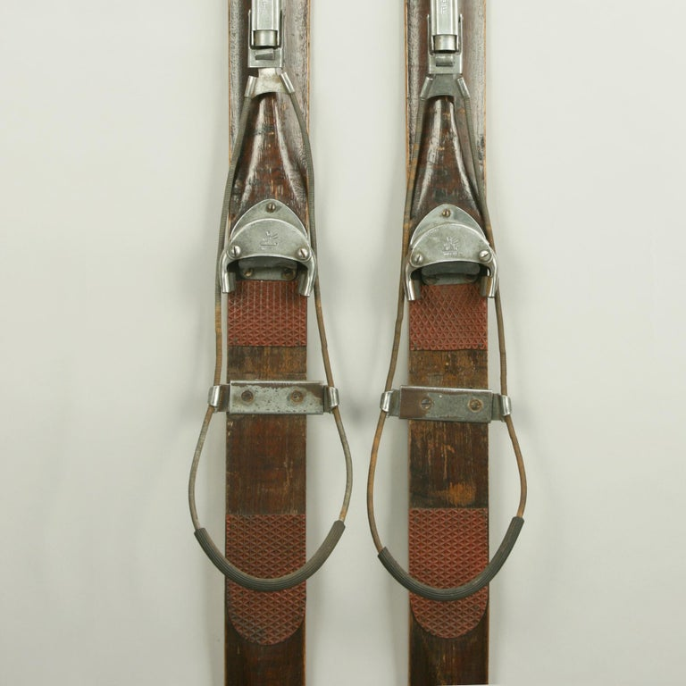 Antique Ash Skis With Unique Oberhof Safety Bindings