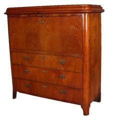 Antique Ashwood Biedermeier Drop Front Abattant Secretary Desk, circa 1850