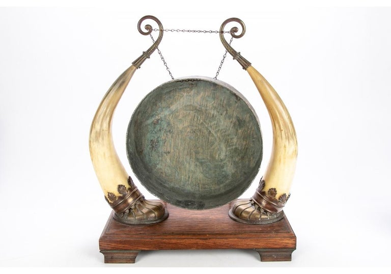 19th Century Antique Asian Brass and Horn Gong For Sale
