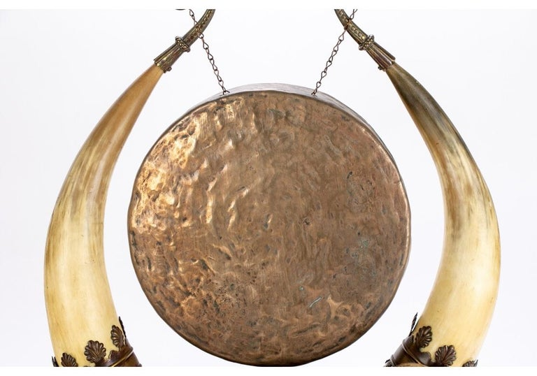 Leather Antique Asian Brass and Horn Gong For Sale