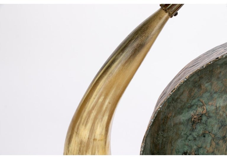 Antique Asian Brass and Horn Gong For Sale 1