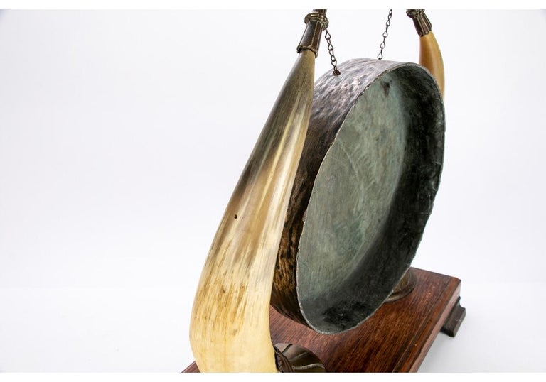 Antique Asian Brass and Horn Gong For Sale 3