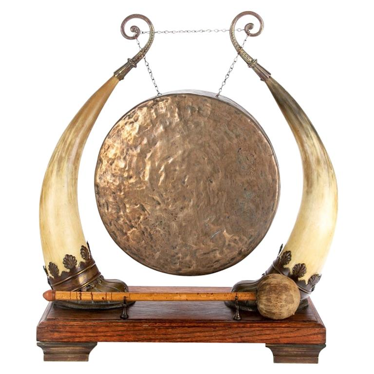 Antique Asian Brass and Horn Gong For Sale