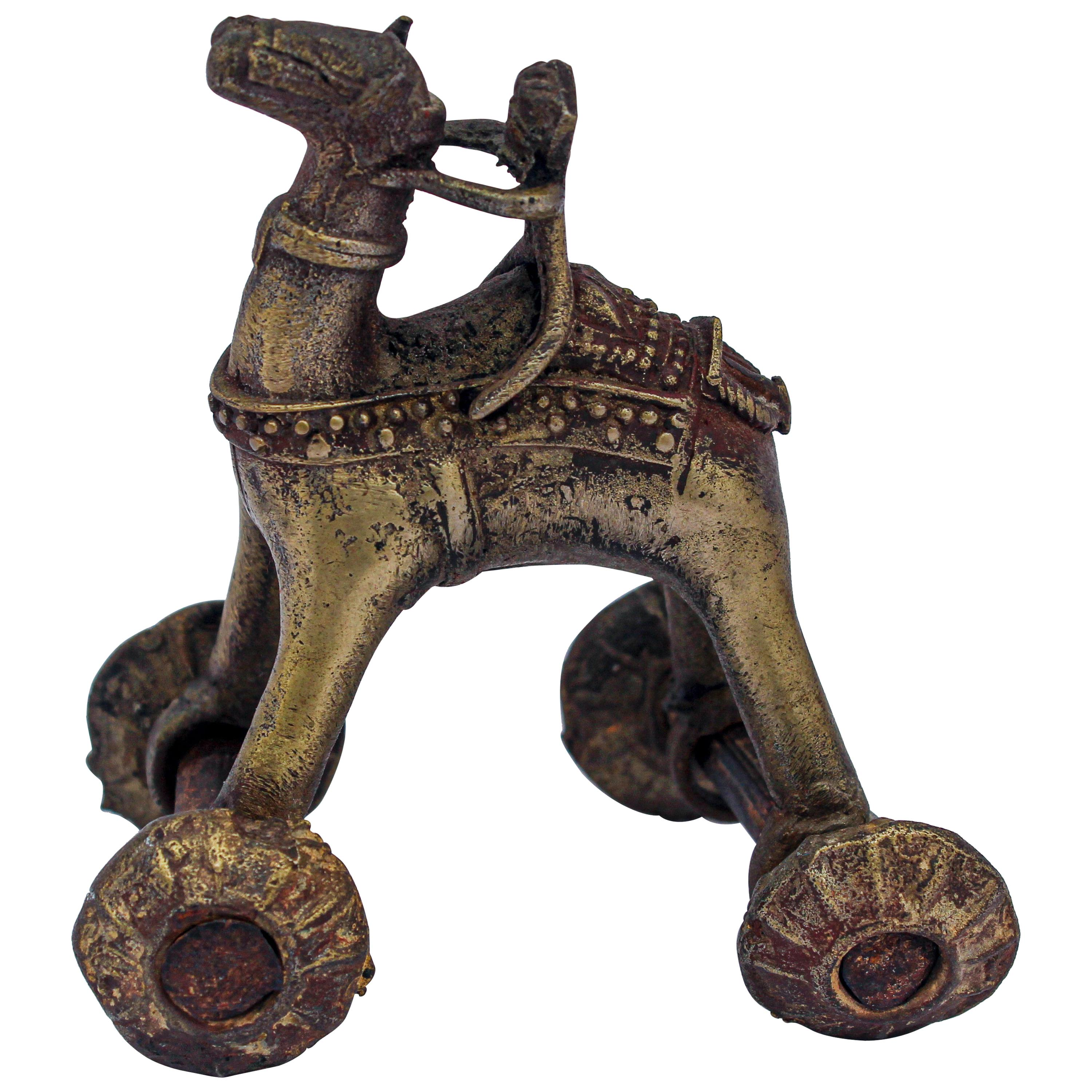 Antique Asian Bronze Toy Camel on Wheels
