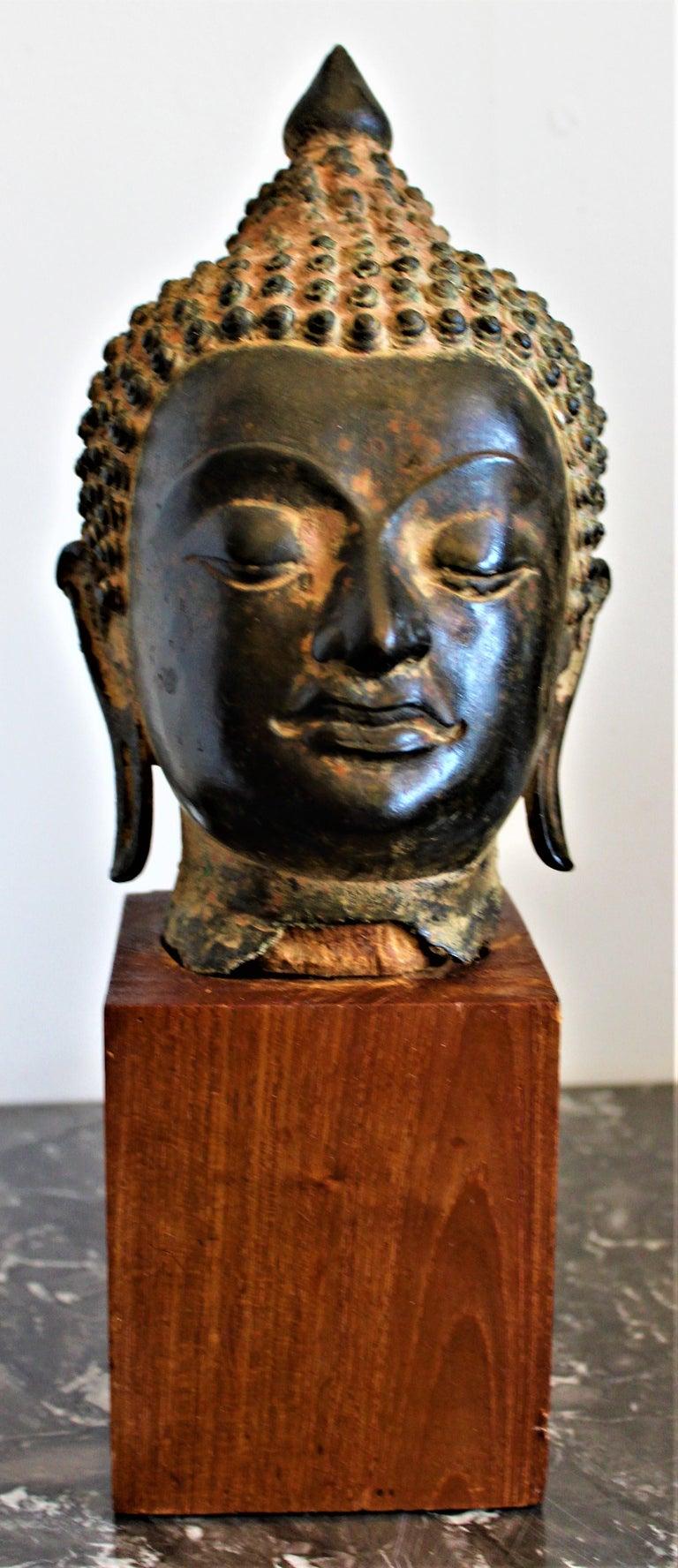 Antique Asian Cast Bronze Buddha Head Fragment Bust Sculpture Thai, 18th Century For Sale 6
