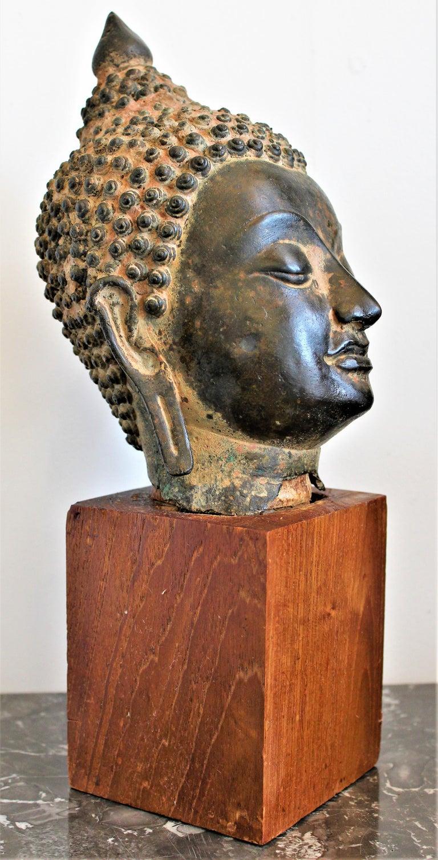 Tibetan Antique Asian Cast Bronze Buddha Head Fragment Bust Sculpture Thai, 18th Century For Sale