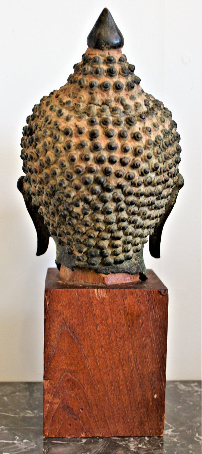 18th Century and Earlier Antique Asian Cast Bronze Buddha Head Fragment Bust Sculpture Thai, 18th Century For Sale