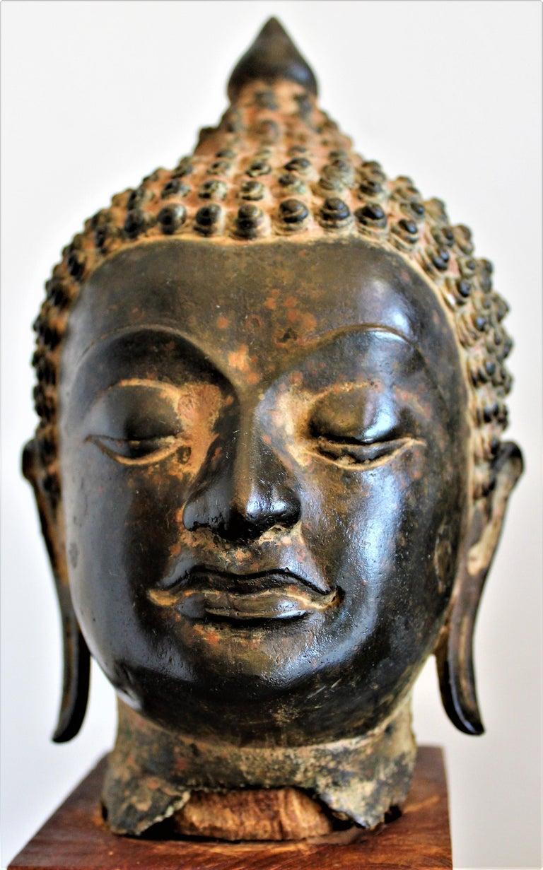 Antique Asian Cast Bronze Buddha Head Fragment Bust Sculpture Thai, 18th Century For Sale 2