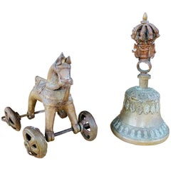 Antique Asian Cast Bronze Horse on Wheels and Tibetan Bell
