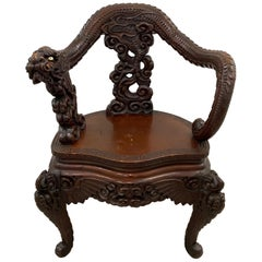 Antique Asian Hand Carved Full Body Dragon Armchair