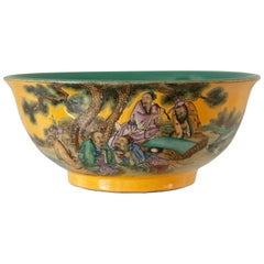 Antique Asian Hand Painted Yellow and Turquoise Porcelain Bowl