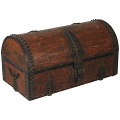 Antique Asian Indian Brass Clad Dowry Chest