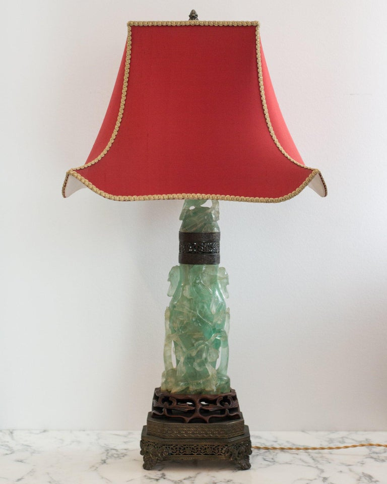 A beautiful large antique Chinese carved fluorite lamp on a bronze base with a custom