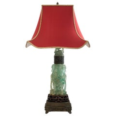 Antique Asian Large Carved Fluorite Lamp with Custom Red Pagoda Shade