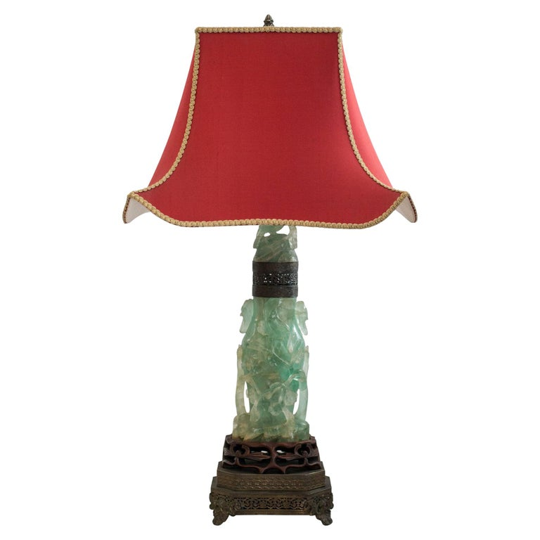 Antique Asian Large Carved Green Fluorite Lamp with Custom Red Pagoda Shade For Sale