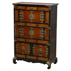 Antique Asian Mixed Wood & Brass Cabinet, 20th Century