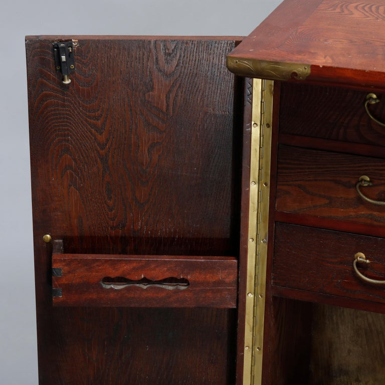 Antique Asian Mixed Wood & Brass Cellarette Cabinet, 20th Century For Sale 6