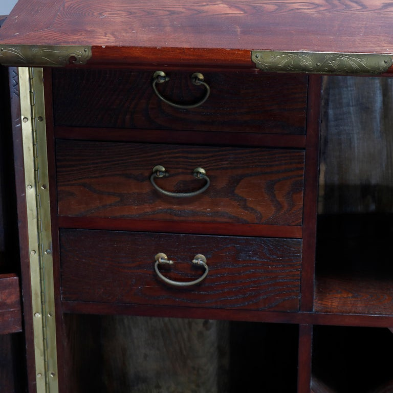 Antique Asian Mixed Wood & Brass Cellarette Cabinet, 20th Century For Sale 7