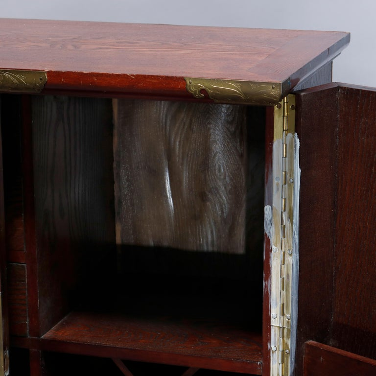 Antique Asian Mixed Wood & Brass Cellarette Cabinet, 20th Century For Sale 8