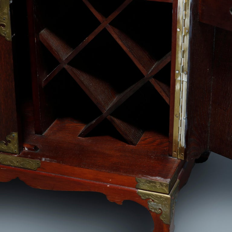 Antique Asian Mixed Wood & Brass Cellarette Cabinet, 20th Century For Sale 10