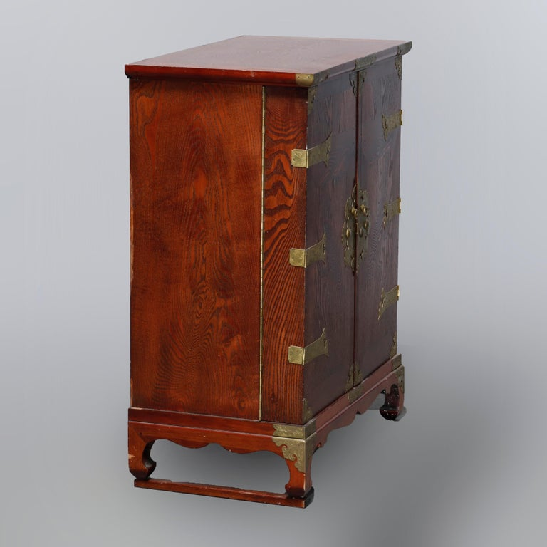 Antique Asian Mixed Wood & Brass Cellarette Cabinet, 20th Century For Sale 12
