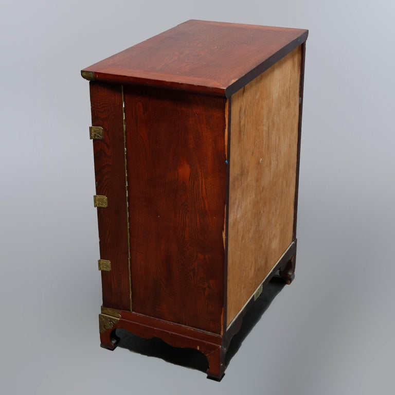 Antique Asian Mixed Wood & Brass Cellarette Cabinet, 20th Century For Sale 13