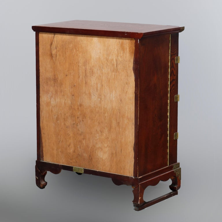 Antique Asian Mixed Wood & Brass Cellarette Cabinet, 20th Century For Sale 14