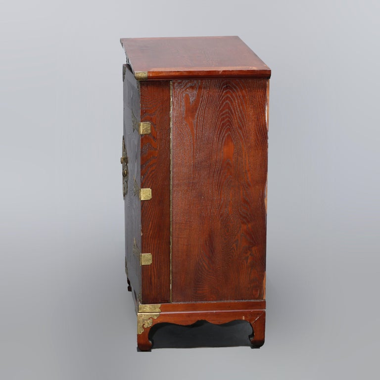 Antique Asian Mixed Wood & Brass Cellarette Cabinet, 20th Century For Sale 15