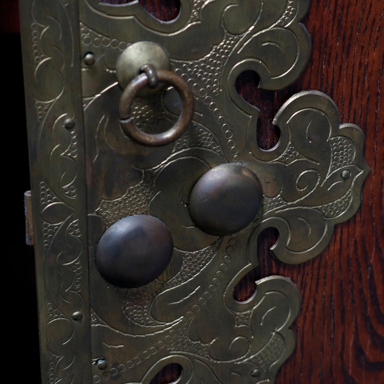 Antique Asian Mixed Wood & Brass Cellarette Cabinet, 20th Century For Sale 3