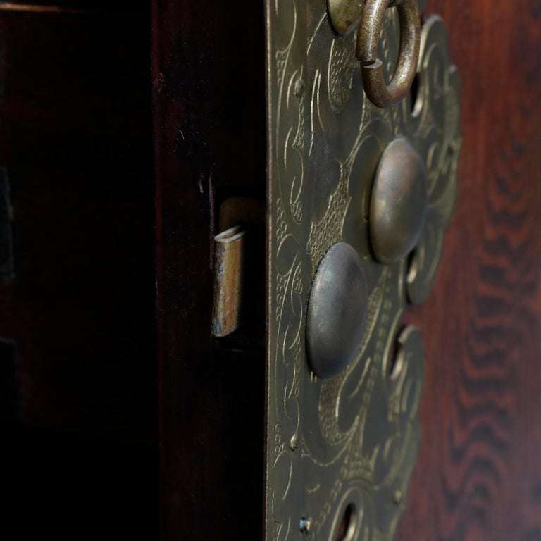 Antique Asian Mixed Wood & Brass Cellarette Cabinet, 20th Century For Sale 4