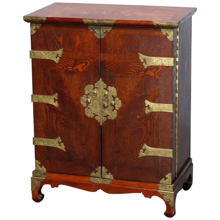 Antique Asian Mixed Wood & Brass Cellarette Cabinet, 20th Century For Sale