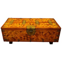Antique Asian Parquetry Silk Robe or Sword Chest as a  Coffee Table, circa 1880