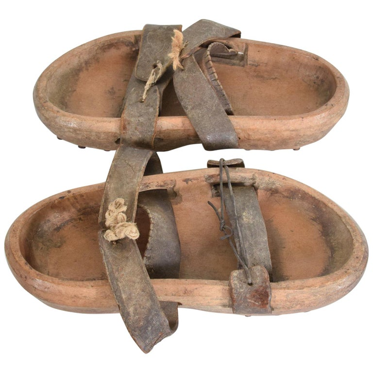 Antique Asian Wood Clog Shoes Open Toe Sandals Leather Strap & Cleats For Sale