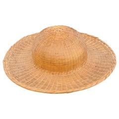 Antique Asian Rattan Hat, circa 1950