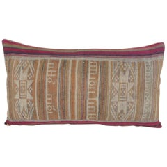 Antique Asian Red and Green Woven Stripes Decorative Lumbar Pillow