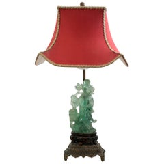 Antique Asian Small Carved Fluorite Lamp with Custom Red Pagoda Shade