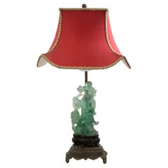 Antique Asian Small Carved Green Fluorite Lamp with Custom Red Pagoda Shade