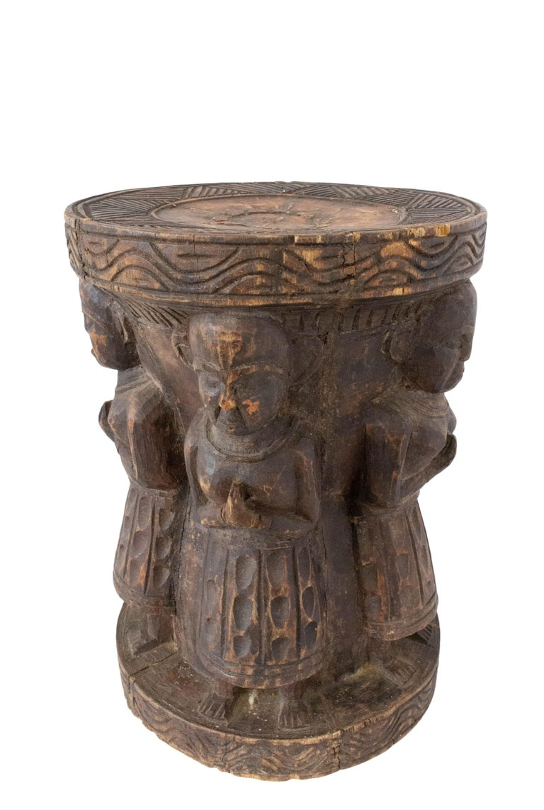 Carved Antique Asian Stool Four Characters, 19th Century For Sale