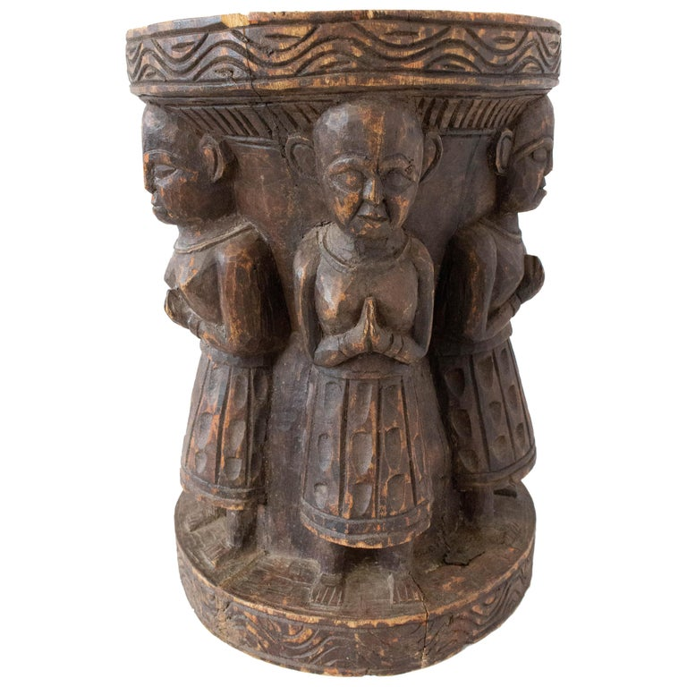 Antique Asian Stool Four Characters, 19th Century For Sale