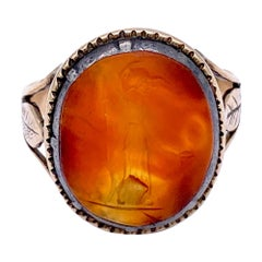 Antique Athena Carnelian Agate Intaglio Carving Silver Gold Mount, 1800